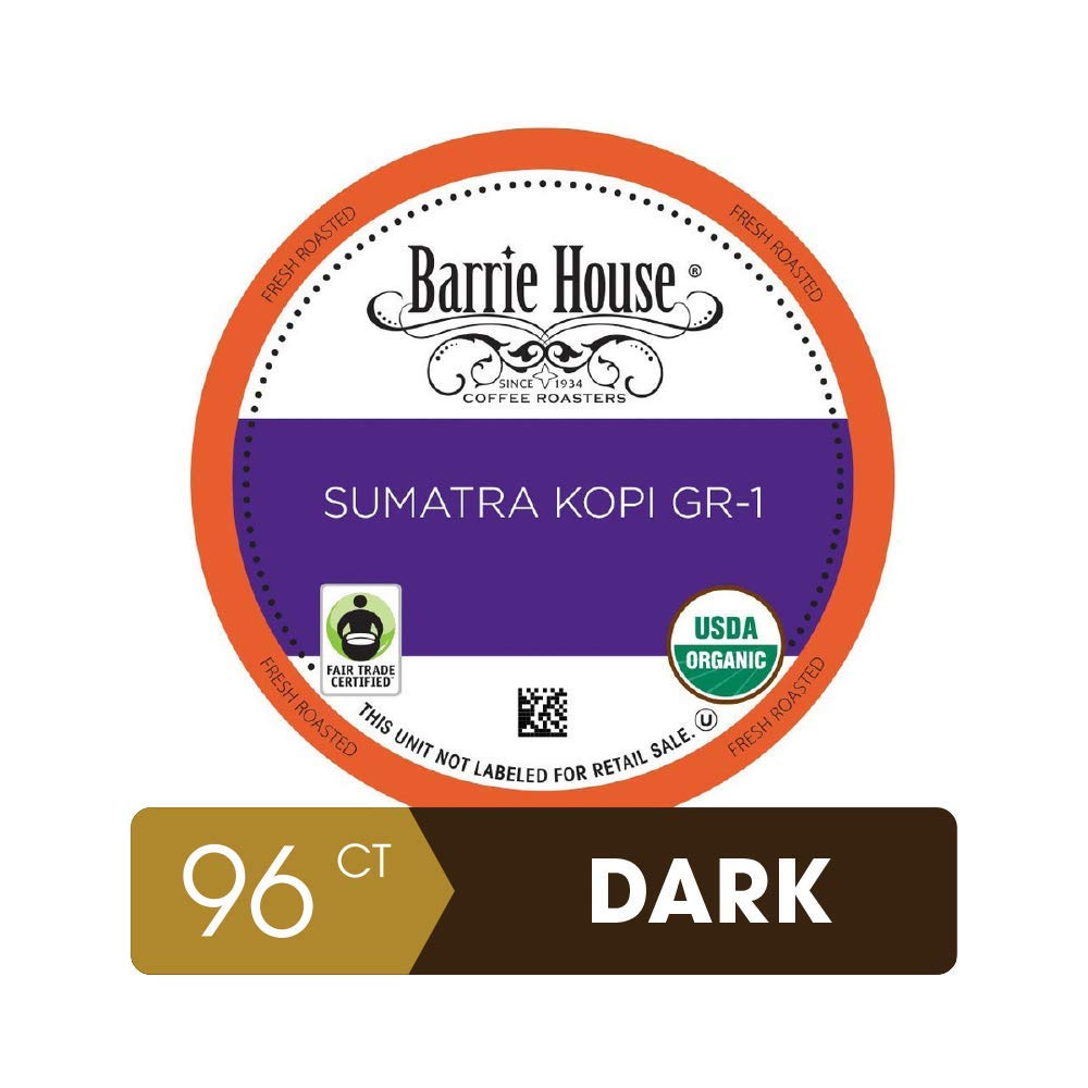 Barrie House Sumatra Kopi Single Serve Coffee Pods, 96 Pack   Compatible With Keurig K Cup Brewers   Small Batch Artisan Coffee in Convenient Single Cup Capsules