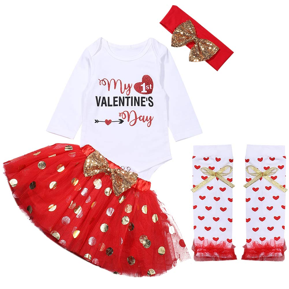 4PC Baby Girl Valentines Day Outfit My First Valentines Romper and Sequins Tutu Skirt Leg Warmers with Headband Clothes Set