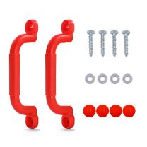 STARTOSTAR Playground Handles Solid Playset Safety Handles with Finger Grips for Climbing Frame & Play House - Red (One Pair)