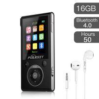 puersit 16GB MP3 Player with Bluetooth, Portable Music Player FM Radio Voice Recorder HiFi Lossless Sound for Sports 50 Hours Playback and Expandable Up to 128GB TF Card(Black Sliver).