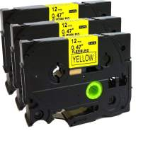 NEOUZA 3PK Compatible for Brother P-Touch Laminated TZe TZ Label Tape Cartridge 12mm x 8m (TZe-Fx631 Flexible ID Wire Cable Black on Yellow)