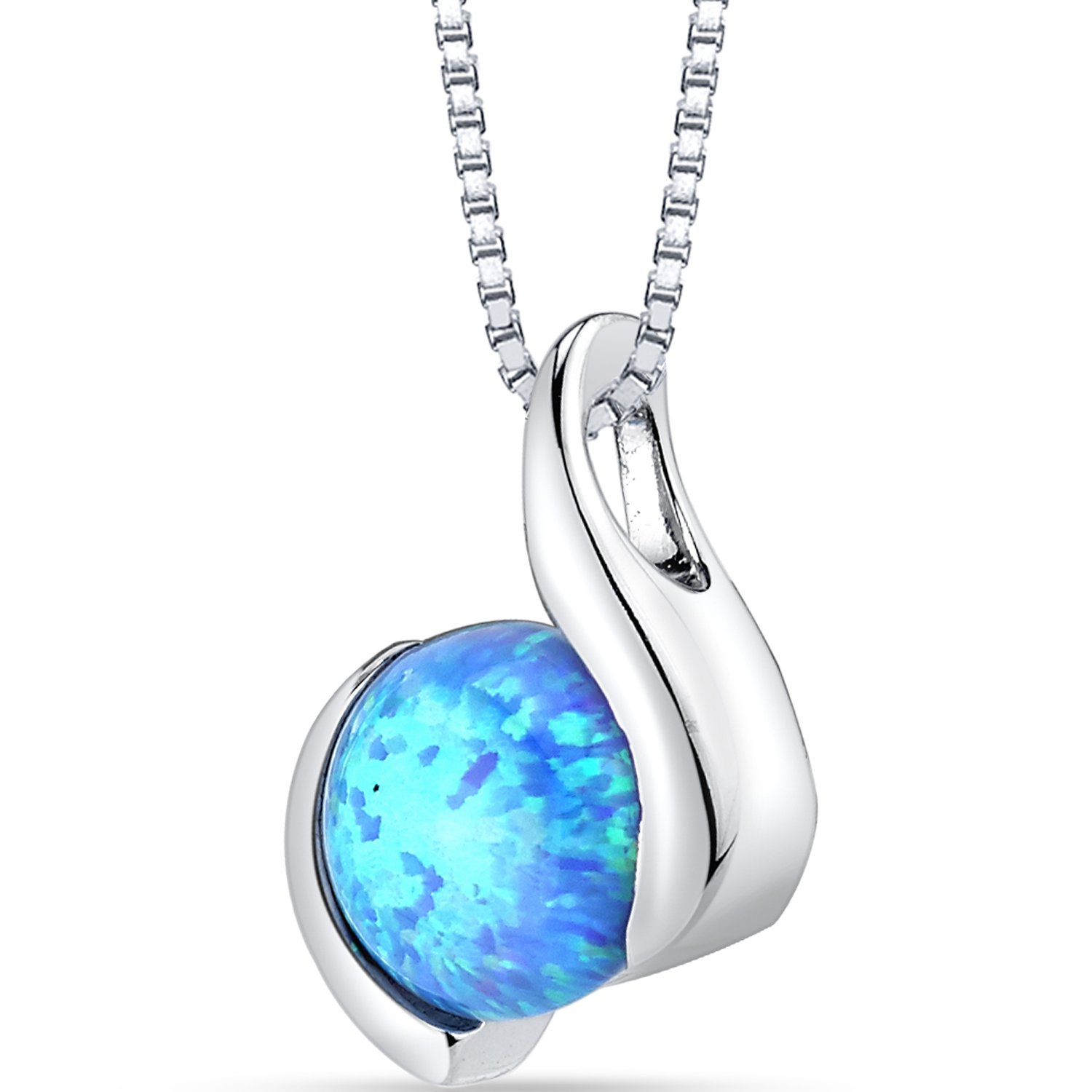 Created Powder Blue Opal Iris Pendant Necklace Sterling Silver 1.50 Carats