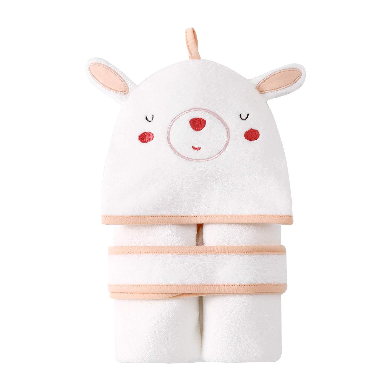 pureborn Baby Girl Swaddle Blanket Bath Towel Newborn Soft Terry Cotton Cute Cartoon Pink Rabbit