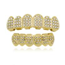 LuReen 14k Gold 6 Teeth Grillz Hip Hop Joker Diamond Top & Bottom Teeth Caps Grillz Set