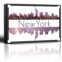 wall26 - City Skyline Series - New York - Colorful Urban Decor - Sunsets and Silhouettes Famous Buildings and Landmarks - Canvas Art Home Decor - 24x36 inches