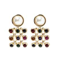 Pearl and Gemstone Drop Dangle Earrings KELMALL COLLECTION