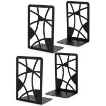 Book Ends, Bookends, Veecom Black Metal Bookends for Shelves, Non Skid Bookend Heavy Duty, Decorative Bookends for Heavy Books, Book End Shelf Holder for Kids, Book Stoppers for Office (Black- 2 Pair)