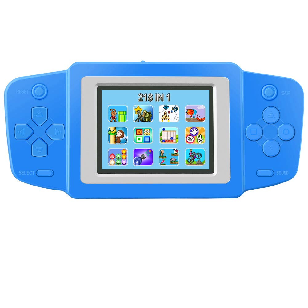 TEBIYOU Handheld Game Console for Kids Seniors Adults with Built in 218 Classic Video Games 2.5'' Screen USB Rechargeable Portable Gaming Console Player Birthday Gift for Toddlers