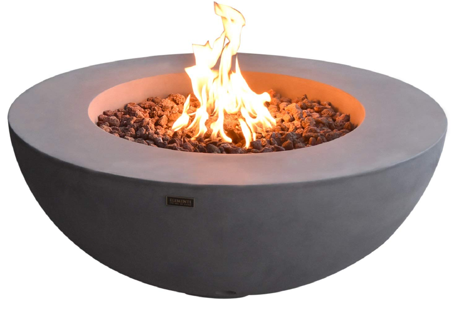 Elementi Lunar Bowl Outdoor Table 42 Inches Fire Pit Patio Heater Concrete Firepits Outside Electronic Ignition Backyard Fireplace Cover Lava Rock Included, Natural Gas