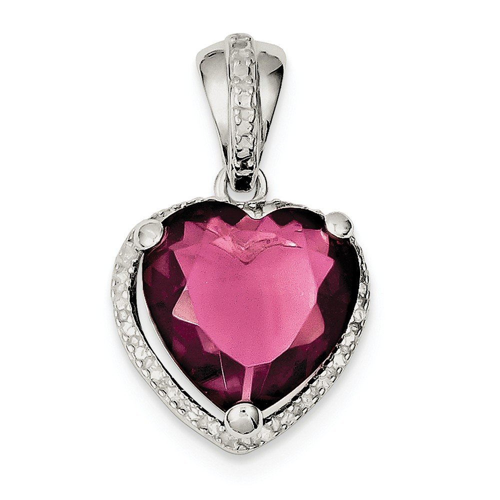 925 Sterling Silver Heart Red Cubic Zirconia Cz Pendant Charm Necklace Love Ful Fine Jewelry For Women Gifts For Her
