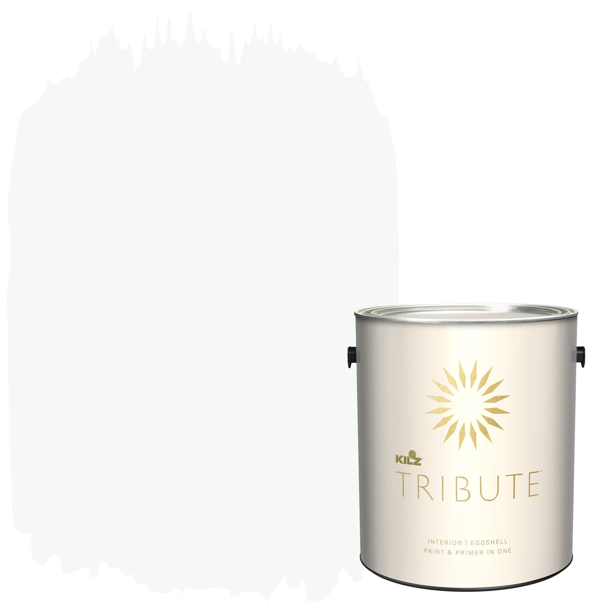 KILZ TRIBUTE Interior Eggshell Paint and Primer in One, 1 Gallon, Ultra Bright White (TB-01)