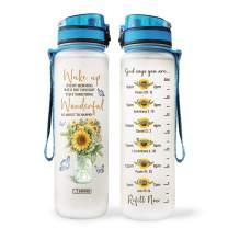 64HYDRO 32oz 1Liter Motivational Water Bottle with Time Marker, Sunflower Butterfly Wake Up Something Wonderful Happens HHA1607010 Water Bottle - WTB