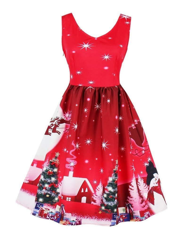 Seazoon Line Dance Dresses for Women 50's Vintage V Neck Sleeveless Pleated Swing Party Dresses