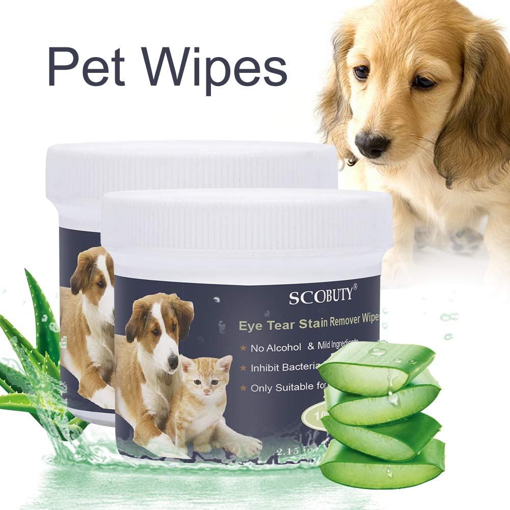 SCOBUTY Pet Wipes,Pet Eye Wipes,Pet Tear Stain Wipes,Natural Tear Eye Stain Remover Pads for Pets, Cleansing Eye Wipes,Eyes Gentle Tear 200 Pads Stain Wipes