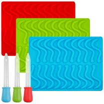 Gummy Worm Silicone Molds with 3 Droppers, SENHAI 3 Pack Gumdrop Molds Ice Cube Trays for Jelly Chocolate Soap Cake Wax, Available in Oven Fridge Microwave Oven Freezer