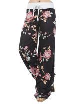 Assivia Women's Summer Casual Pajama Pants Floral Print Drawstring Palazzo Lounge Pants Wide Leg