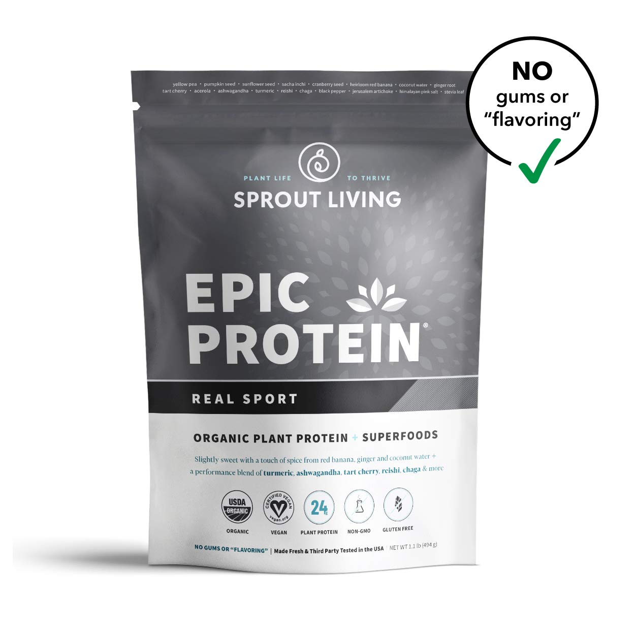 Sprout Living Epic Protein Powder, Real Sport, Organic Plant Protein, Gluten Free, No Additives, 24 Grams Protein, Performance and Recovery (1.1 Pound,13 Servings)