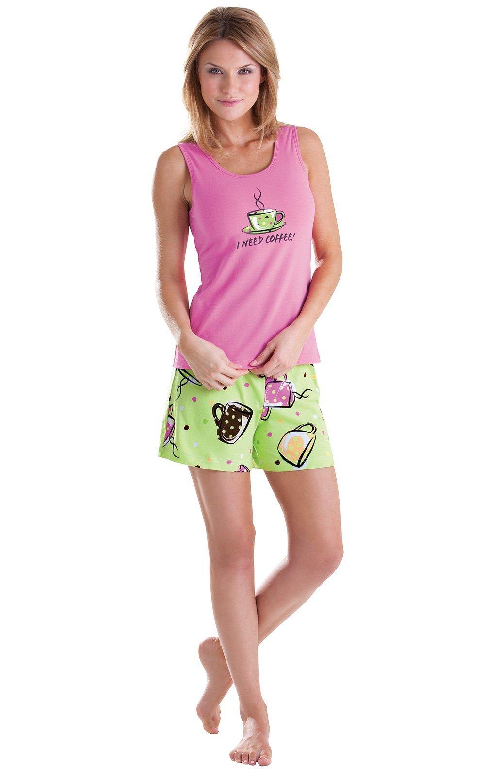 PajamaGram Womens Pajamas Set Shorts - Cute PJs for Women, Green