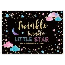 Funnytree 7x5ft Gender Reveal Party Backdrop Boy Or Girl Twinkle Twinkle Little Star Photography Background Pink and Blue Gender Surprise Photo Banner for Baby Shower Photobooth Cake Table Decoration