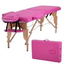 Massage Table Salon Bed Spa Massage Bed 2 Fold Massage Table 73 Inch Long 34 Inch Height Adjustable Wide PU Portable Salon Bed Deluxe Backpack Reiki Table (Pink)