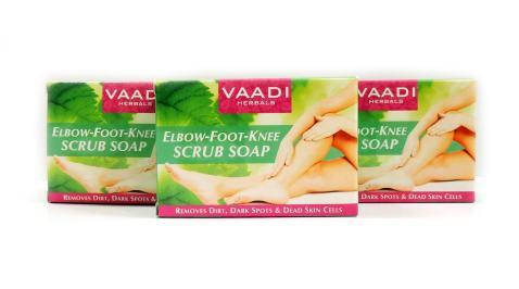 Elbow Foot Knee Scrub Soap - Handmade Herbal Soap - ALL Natural - Best Natural Skin Moisturizer - Each 2.65 Ounces - Pack of 3 (8 Oz) - Vaadi Herbals