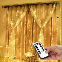 YEOLEH String Lights Curtain,USB Powered Fairy Lights for Party Bedroom Wall,8 Modes & IP64 Waterproof Ideal for Outdoor Wedding Home Garden Decor (Warm White,7.9Ft x 5.9Ft)