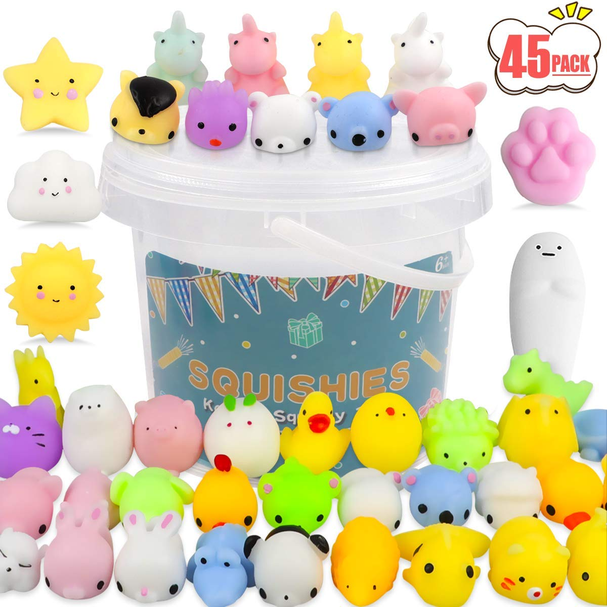 POKONBOY 45 Pack Mochi Squishy Toys Mini Squishies, Squishy Party Favors for Kids Unicorn Cat Squishy Kawaii Animal Squishies Stress Relief Toys Birthday Gifts Easter Egg Fillers