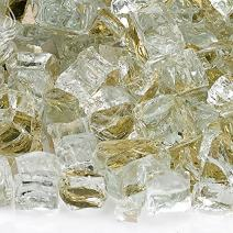American Fireglass 10-Pound Reflective Fire Glass with Fireplace Glass and Fire Pit Glass, 1/2-Inch, Gold