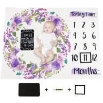 "MHJY Baby Monthly Milestone Blanket Soft Fleece Floral Flower Newborn Girls Photography Blanket 40""x51"" with Milestone Chalkboard, Marker and Frame"
