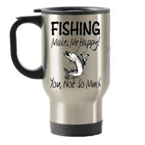 SpreadPassion Fishing Makes Me Happy Stainless Steel Travel Insulated Tumblers Mug