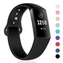 TSAAGAN Sport Silicone Band Compatible with Fitbit Charge 3/Charge 3 SE, Thin Soft Adjustable Replacement Strap Wristband Accessory for Fitbit Charge 3 Fitness Activity Tracker (Large, Black)