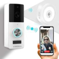 Yiroka Video Doorbell, 720P HD Security Camera with Two-Way Talk &Video, Real-Time Response, No Monthly Fees, Secure Local Storage, Free Night Light (005-White)