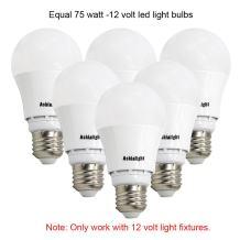 Ashialight LED 12 Volt Light Bulbs,Equal 60 Watt 12 Volt A19 Bulbs,Daylight,E27/E26 Medium Base,LED 12 Volt Bulbs for RV Camper Marine,Off Grid and Solar Light Fixture (6pcs of Pack)
