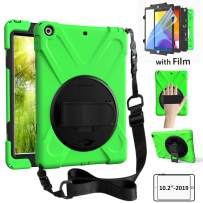 ZenRich Kids Case for New iPad 10.2 2019 - iPad 7th Generation Case with Screen Protector Shockproof Hard Rugged Case with Strap/Stand for iPad 10.2 inch 2019 Tablet A2197/A2198/A2199/A2200,Green