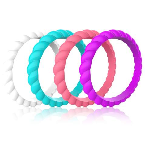 Hypoallergenic Silicone Thin Rubber Wedding Bands Stackable Ring Zollen 10 Packs Silicone Wedding Rings for Women