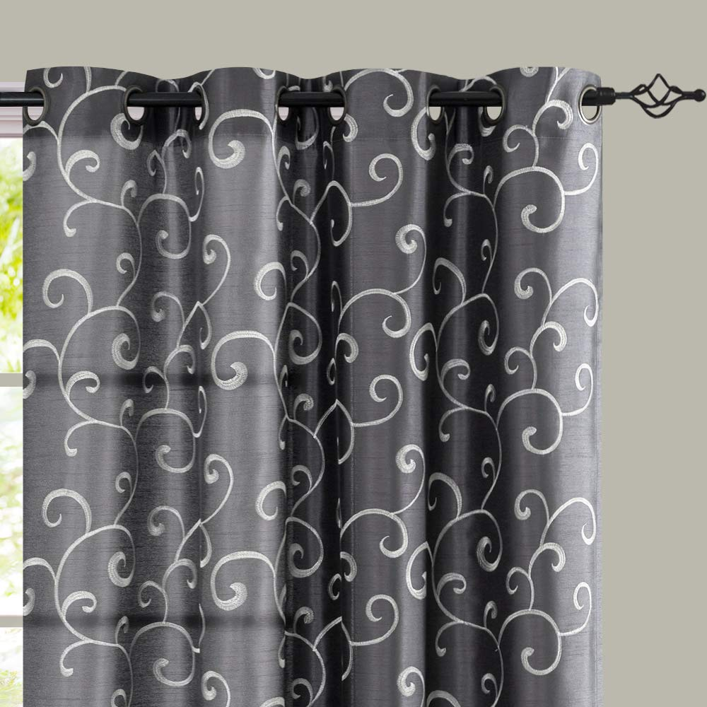 jinchan Curtains Gray 84 inches Living Room Drapes Faux Silk Dupioni Swirl Embroidery Grommet Top Window Treatment Set Embroidered Drapery Bedroom Curtain Set 2 Panels