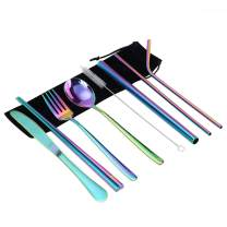 Portable Cutlery Set Travel Camping Home Office Tableware Bulk with Reusable Stainless Steel Cutlery Set Including Cutlery Spoon Straw Chopsticks Cleaning Brush Eco-friendly (multicolourr)