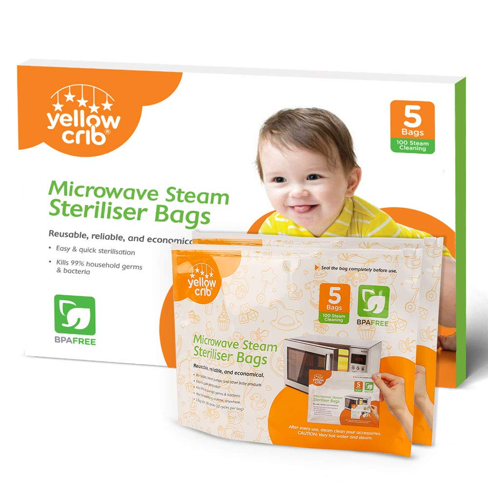 Microwave Steam Sterilizer Bag (5 Pcs) 100 Uses - 100% Safe & Easy Ziplock Steam Bags for Baby Bottles, Soothers, Teethers & Training Cups