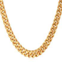 U7 Men Women 4mm-9mm Wide Franco Curb Chain Platinum/Black/18K Gold/Rose Gold Plated Necklace, Length 18-32 Inch