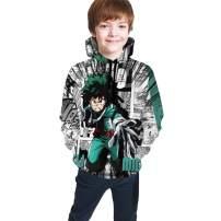 SHOEWPQIA Boy's 3D My Hero Academia Comic Deku Background Thin Sweatshirts Pullover Hoodies