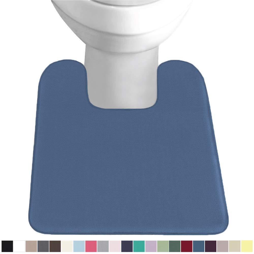 Gorilla Grip Original Thick Memory Foam Contour Toilet Bath Rug 22.5x19.5, Square, Cushioned, Soft Floor Mats, Absorbent Cozy Bathroom Rugs, Machine Wash and Dry, Plush Bath Room Carpet, Blue