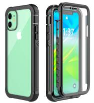 Pakoyi iPhone 11 Case, Clear Full Body Shockproof Case with Built-in Screen Protector Slim Bumper Dustproof Cover Case for iPhone 11(6.1 inch)-Black/Clear