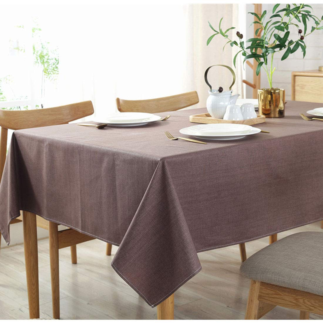 """Bringsine Solid Cotton Linen Tablecloth Stain Resistant/Spill-Proof/Waterproof Lace Table Cloth Cover for Kitchen Dinning Tabletop Decor(Rectangle/Oblong, 53"""" x 98"""", Coffee)"""
