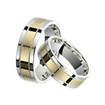 Alain Raphael 2 Tone Sterling Silver and 10k Yellow Gold 7 Millimeters Wide Wedding Band Ring Set Him and Her