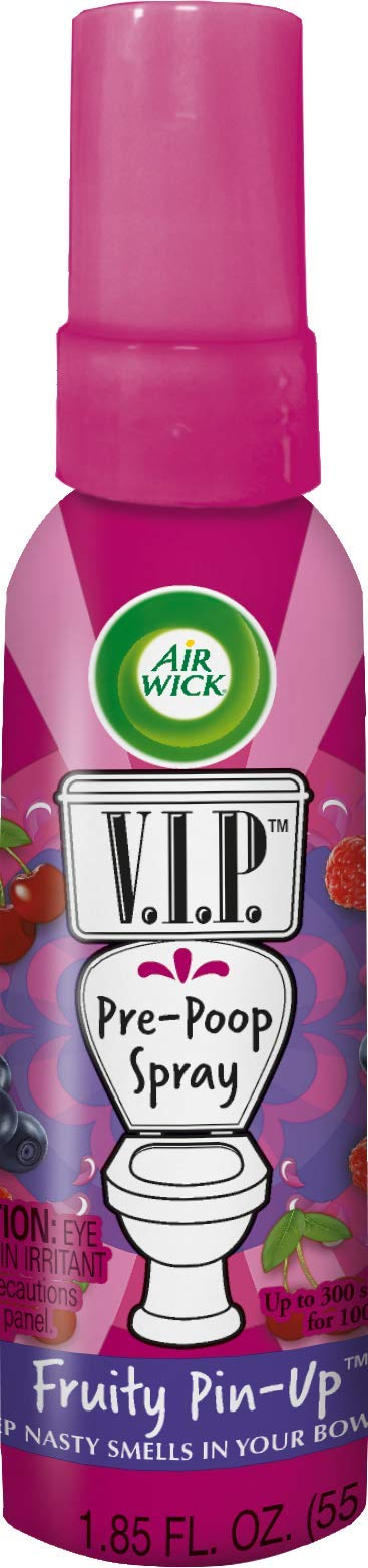 Air Wick V.I.P. Pre-Poop Toilet Spray, Up to 100 uses, Contains Essential Oils, Fruity Pin-up Scent, Travel size, 1.85 oz, Holiday Gifts, White Elephant gifts, Stocking Stuffers