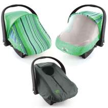 Cozy Combo Pack (Green Stripe) – 'Sun & Bug Cover' Plus 'Cozy Cover' Infant Carrier Covers - Trusted By Over 5 Million Moms Worldwide – Protects Your Baby From Mosquitos, Insects, the Sun, Wind & Rain