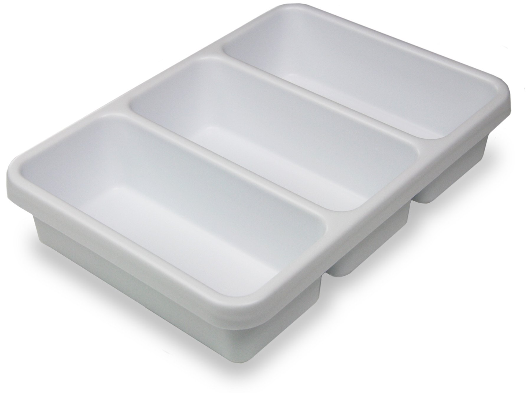 "TrippNT 50399 White Polystyrene Plastic Drawer Organizer, 3 Pocket: 14"" Width x 3"" Height x 10"" Depth"