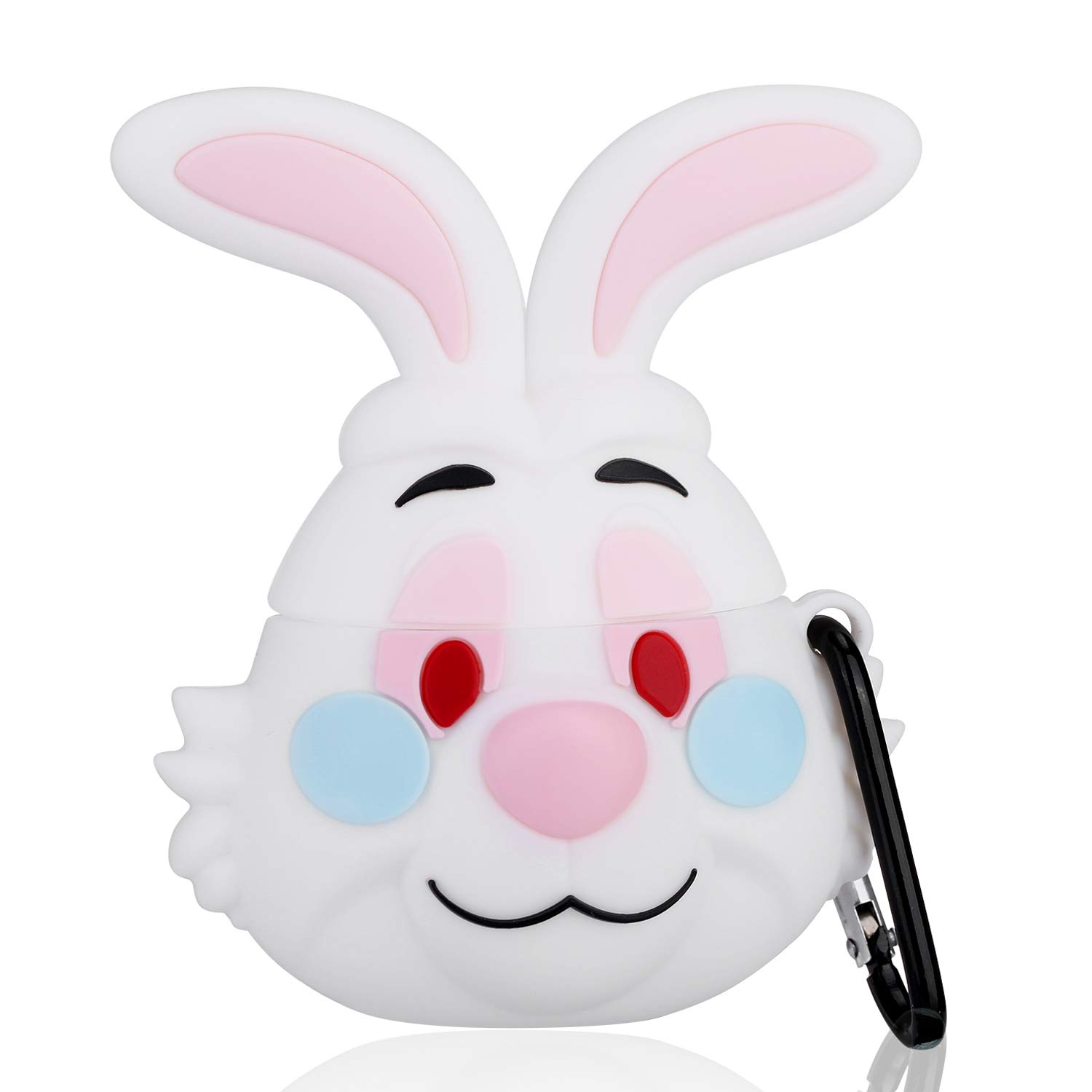 Gift-Hero White Ear Rabbit Cartoon Case for Airpods, Funny Cute Pattern Design for Girls Boys Kids, Accessories Carabiner Protective Fun Fashion Character Skin Soft Silicone Cover for Air pods 2/1