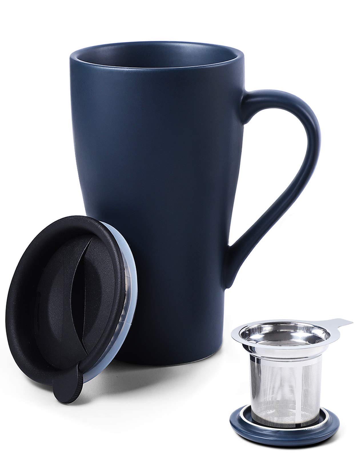 ARRADEN Tea Cup with Infuser and 2 Lids, 18oz Large Tea Infuser Mug, Tea Strainer Cup for Loose Tea, Travel Mug with Tea Bag Holder (Royal Blue)