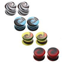 BodyJ4You Glass Saddle Plugs Kit Swirl Spiral Set 4G-14mm (8 Pieces)